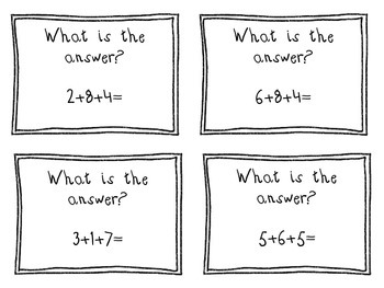 Mental Math Meeting Cards