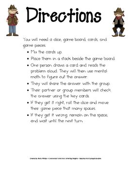 Mental Math Game: Math Game for 4th Grade (possibly 3rd & 5th): Math Center