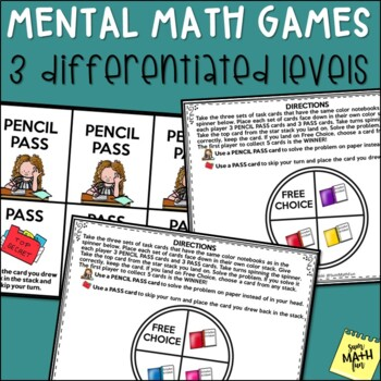 Mental Math - Multiplication & Division - Differentiated Task Cards - Games