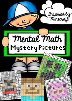 Mental Math Mystery Pictures inspired by Minecraft characters