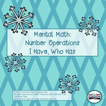 Mental Math: Number Operations I Have, Who Has