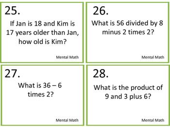 Mental Math--Number Sense Task Cards