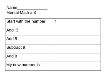 Mental Math Packet