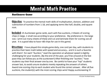 Mental Math Practice - Auctioneer Game