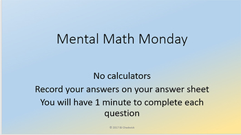 Mental Math Problem Presentations Week 1