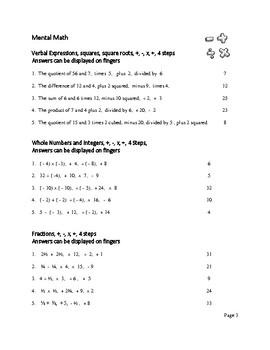 Mental Math Problems Free Item