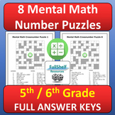 Mental Math Puzzles Worksheets 5th and 6th Grade Math Center Activities