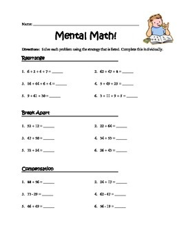 Mental Math (Rearrange, Break Apart, Compensation)