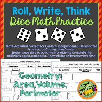 Geometry Roll, Write, Think - Area, Perimeter and Volume M