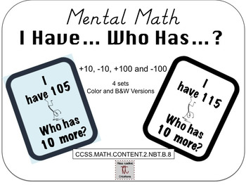 Mental Math-Sorting and I Have Who Has (+10/100,-10/100) Math Centers 2nd Grade