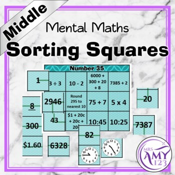 Mental Math Sorting Squares - Middle