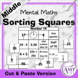 Mental Math Sorting Squares - Middle - Cut & Paste