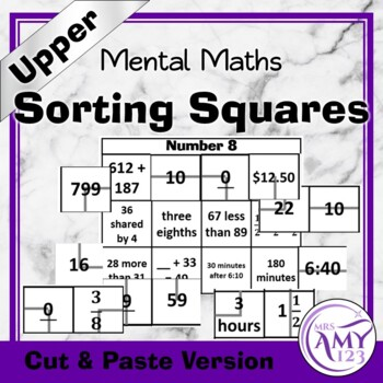 Mental Math Sorting Squares - Upper - Cut & Paste
