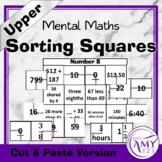 Mental Math Sorting Squares - Upper - Cut & Paste