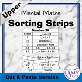 Mental Math Sorting Strips - Upper - Cut and Paste