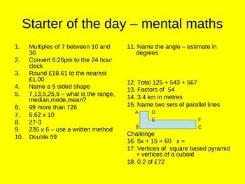Mental Math Starter A Day