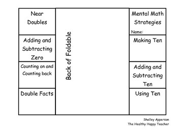 Mental Math Strategies Interactive Notebook foldable