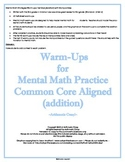 Mental Math Strategies Warm-ups / Exit Slips (Addition) with Manipulatives