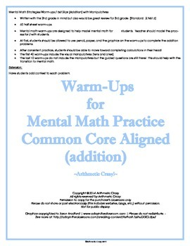 Mental Math Strategies Warm-ups / Exit Slips (Addition) wi