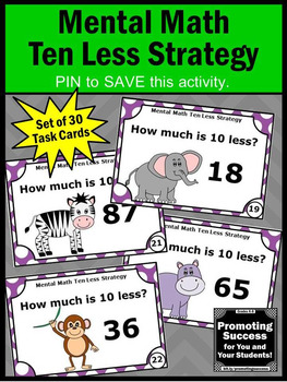 Subtraction Games 1st Grade Math Centers, Ten Less, Subtracting 10 from a Number