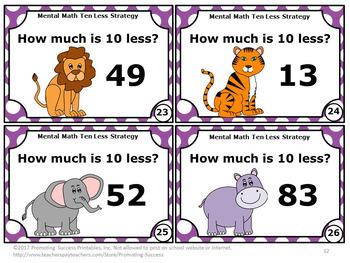 10 Less Activity, 1st grade Math Center Games, Subtracting 10 Mentally