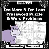 Ten More Ten Less Addition and Subtraction Word Problems Worksheets