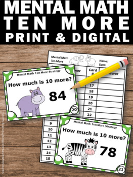 Ten More Task Cards, Adding 10 to a Number, 1st Grade Math Center Games