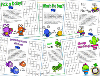 Addition and Subtraction Mental Math Strategy One Page Games