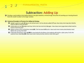 Mental Math Subtraction Strategies- Upper Grades