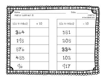Mental Math Task Cards (2.NBT.8)