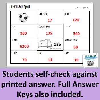 Mental Math Task Cards 5th 6th 7th Grade