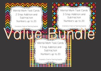 Mental Math Task Cards - Addition and Subtraction - Numbers to 20 Bundle