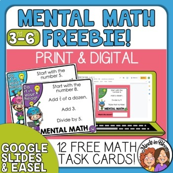 Mental Math Task Cards FREE