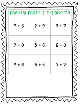 Mental Math Tic-Tac-Toe (Addition & Subtraction) Games