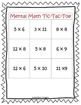 Mental Math Tic-Tac-Toe Multiplication & Division Games