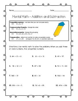 Mental Math Worksheet