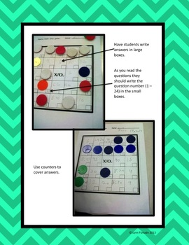 """Mental Math X/Out: A """"bingo"""" style game for Grades 3 - 4"""