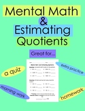 FREE! Mental Math and Estimating Quotients Quiz/Worksheet