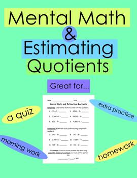 free mental math and estimating quotients quiz worksheet tpt. Black Bedroom Furniture Sets. Home Design Ideas