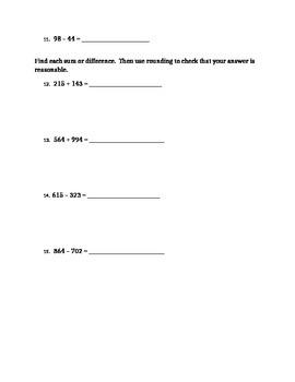 Mental Math and Estimation Assessment