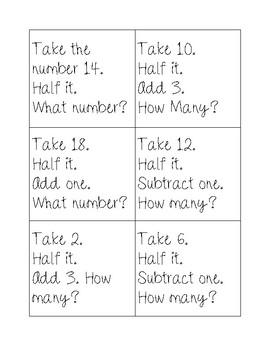 Mental Math flash cards