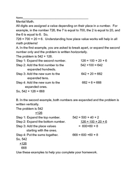 Mental Math with Expanded Form