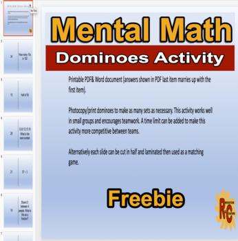 Mental Math Dominoes Activity Free 2nd-3rd Graders