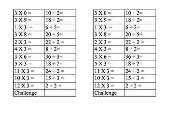 Mental Maths Fluency and Speed using Multiplication and Division