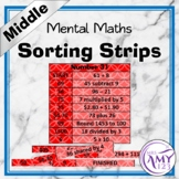 Mental Math Sorting Strips - Middle