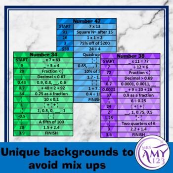 Mental Math Sorting Strips - Upper