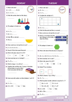 Mental Maths Workbook Year 5 - Australian Curriculum Aligned