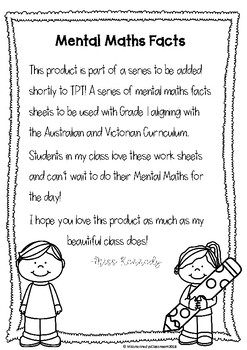 mental maths worksheet grade  by miss kennedys classroom  tpt