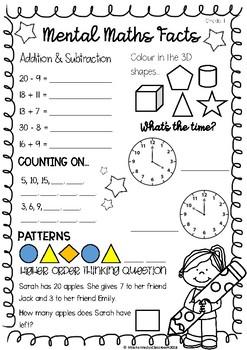 mental maths worksheet grade 1 by miss kennedy 39 s classroom tpt. Black Bedroom Furniture Sets. Home Design Ideas