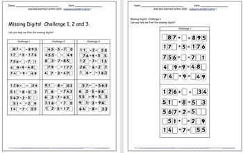 Mental Addition & Subtraction Grades 2&3